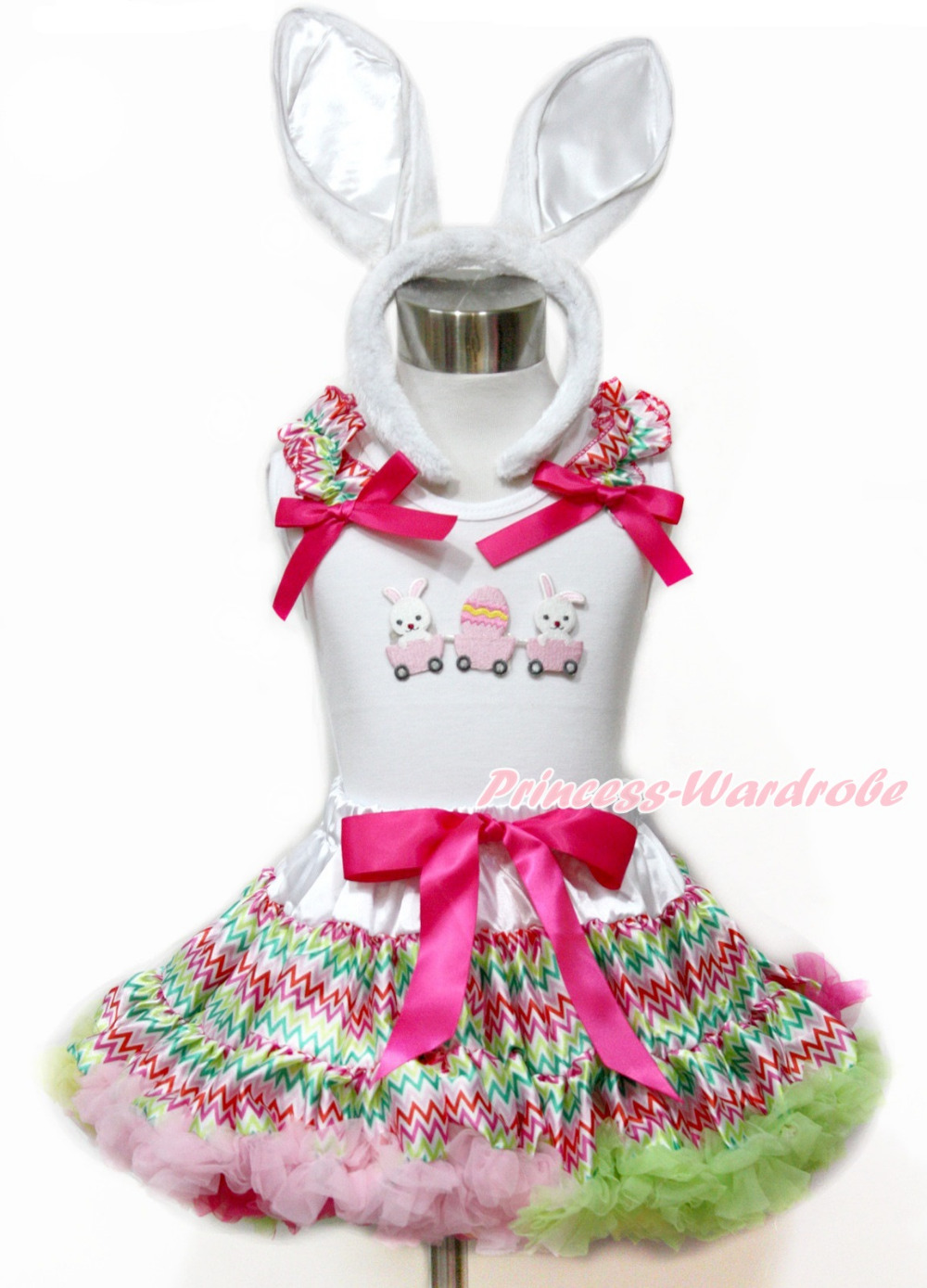 Girl Easter Rabbit Bunny Egg White Top Easter Rainbow Stripe Pettiskirt 1-8Year MAMG1102 цена и фото