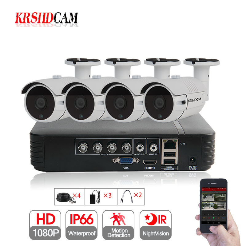 KRSHDCAM 4CH CCTV System 1080P AHD 1080N CCTV DVR 4PCS 3000TVL Waterproof font b Outdoor b