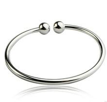 ANENJERY-pulseras de plata de ley 925 para mujer, brazaletes clásicos lisos, brazaletes abiertos, joyería de S-B14, gran oferta