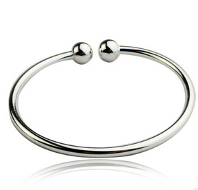 Hot Sale Women 925 Sterling Silver Classical Smooth Bangles Open Cuff Bracelets & Bangles Jewelry pulseras of S-B14