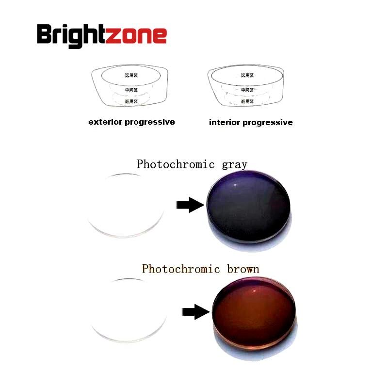 1.61 intérieur progressif photochromique sans ligne bifocale HC UV CR-39 lentilles de prescription en résine un seul objectif voir près et distance