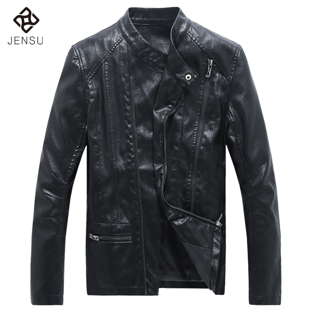 Zipper Men Leather Jackets 2017 Fashion Stand Collar Men PU Jackets and Coats Plus Size 5XL Slim Fits Black Motor Cool Jackets