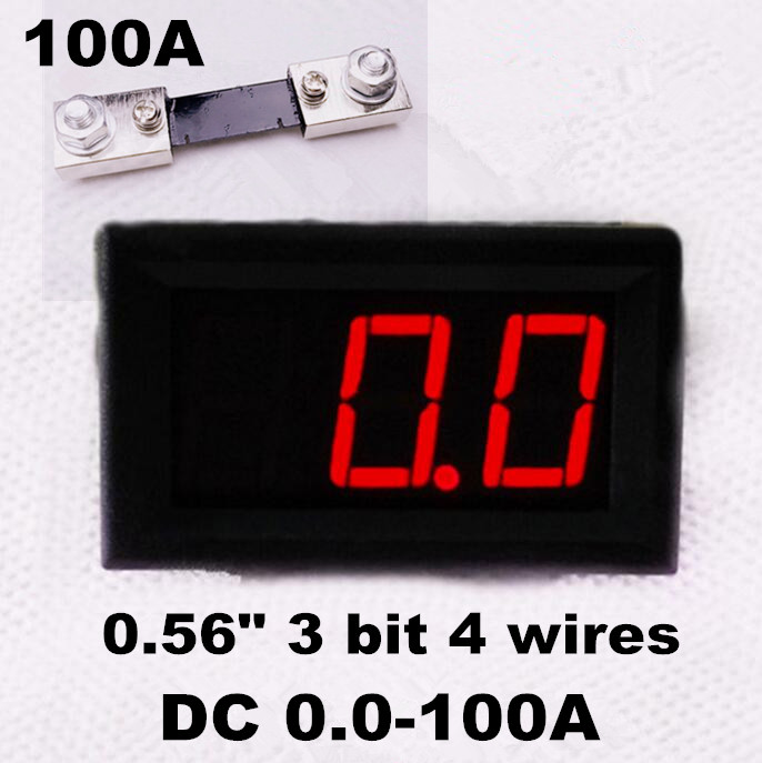DC 0.0-100A  Ammeter Red LED Digital Panel Amp meter  tester 3 bit car Power Current with 100A  Shunt Resistor