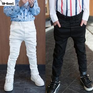 Image 1 - GB Kcool חדש אופנה 2017 ילדים ארוכים מכנסיים אביב סתיו בני מזדמן 100% כותנה לבן סקיני מכנסיים דקים ילדים שחור מכנסיים