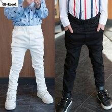 GB Kcool New Fashion 2017 Children Long Pants Spring Autumn Boys Casual 100% Cotton White Skinny Pants Kids Slim Black Trousers