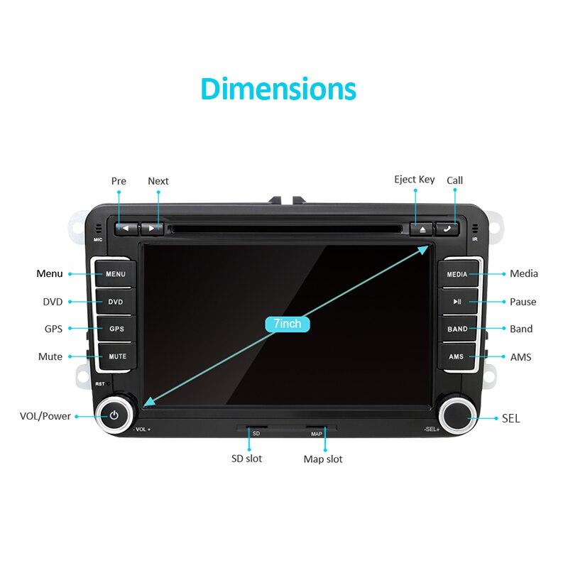 Eunavi 2 Din 7 ''lecteur DVD de voiture Radio GPS Navi pour VW Golf Polo Jetta Touran Mk5 Mk6 Passat B6 2din stéréo tablette pc dans dash usb - 5