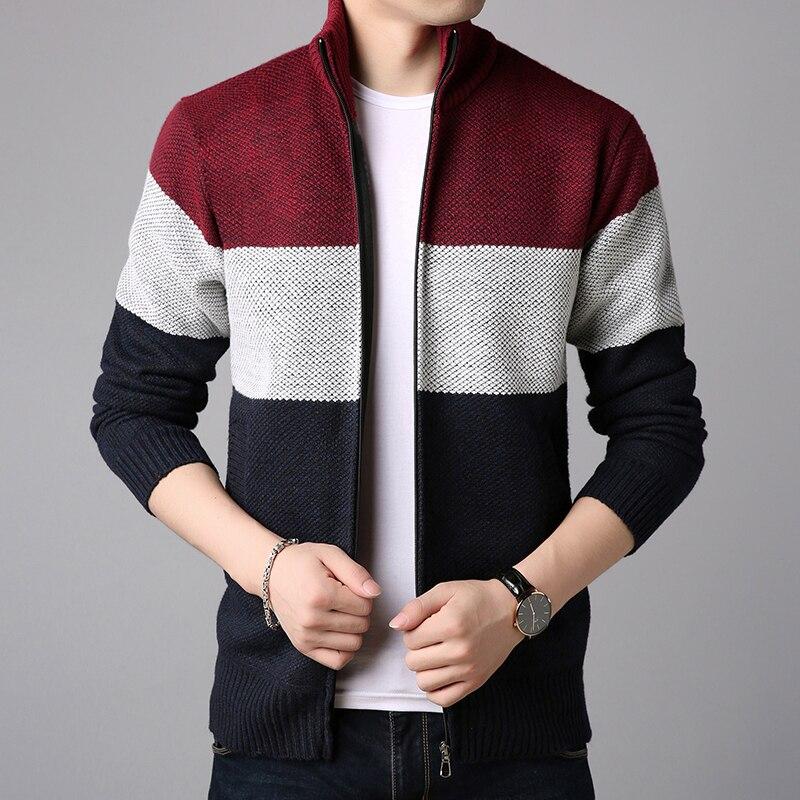 YASUGUOJI England Style Thicken Winter Mens Cardigan Sweater Fashion Chirstmas Men Sweather Zipped Closed Loose Sweaters 2019