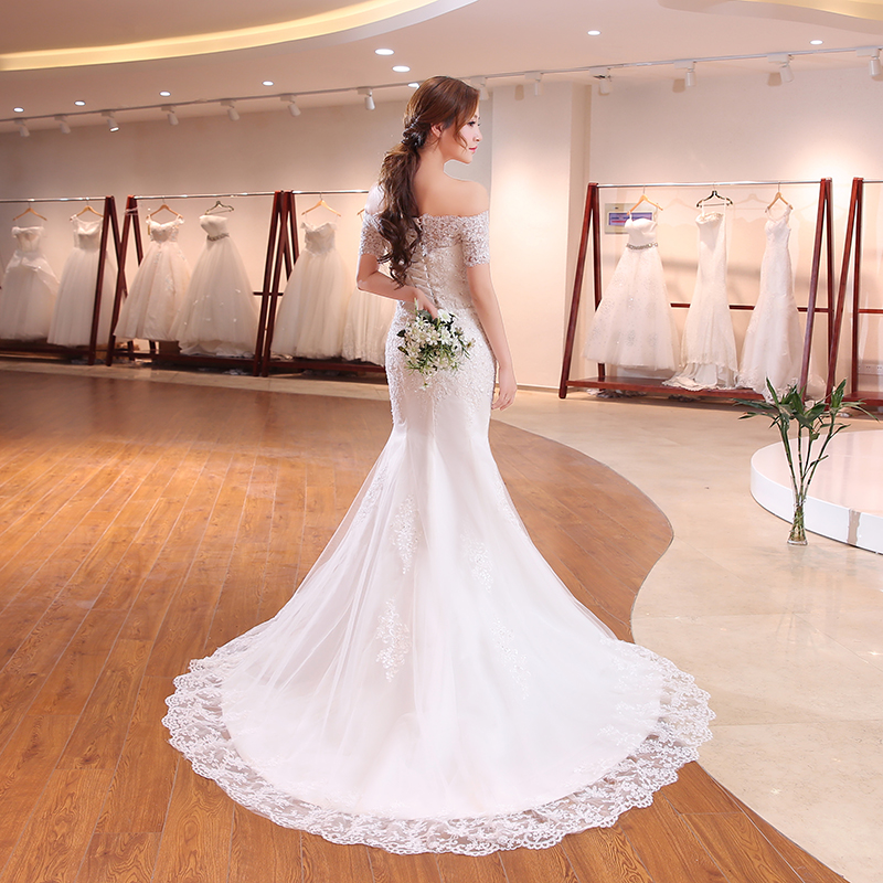 Image 2 - Luxury Sexy Mermaid Train Lace Appliques Half Sleeve Wedding Dress 2018 New Fashion Korean Style A line bride Vestido De Noiva-in Wedding Dresses from Weddings & Events