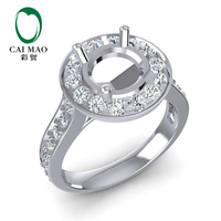 Caimao 7mm Round Cut 14k White Gold 0.78ct Natural Full Cut Diamond Ring Prong Halo