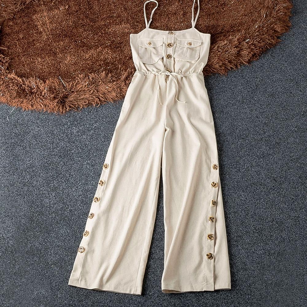 Strap Solid Safari Style Linen Jumpsuit Slim Split Side Leg Beige Good Quality Jumpsuit Women Summer Fashion Womens Jumpsuits