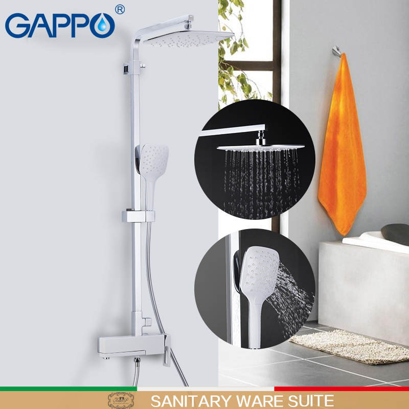 GAPPO sanitary ware suite chrome massage shower set bathroom rainfall mixer shower wall mounted torneira do anheiro faucets