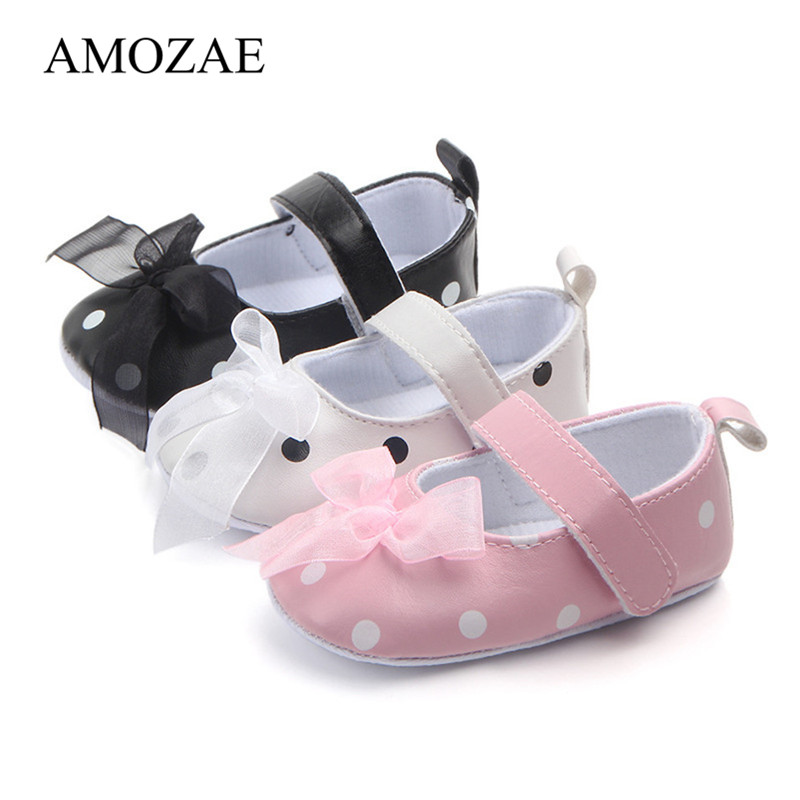 Summer Newborn Infant Toddler Cute Shoes Baby Girl Bow Dot Princess Shoes Anti-slip Indoor First Walker For 0-18 Months