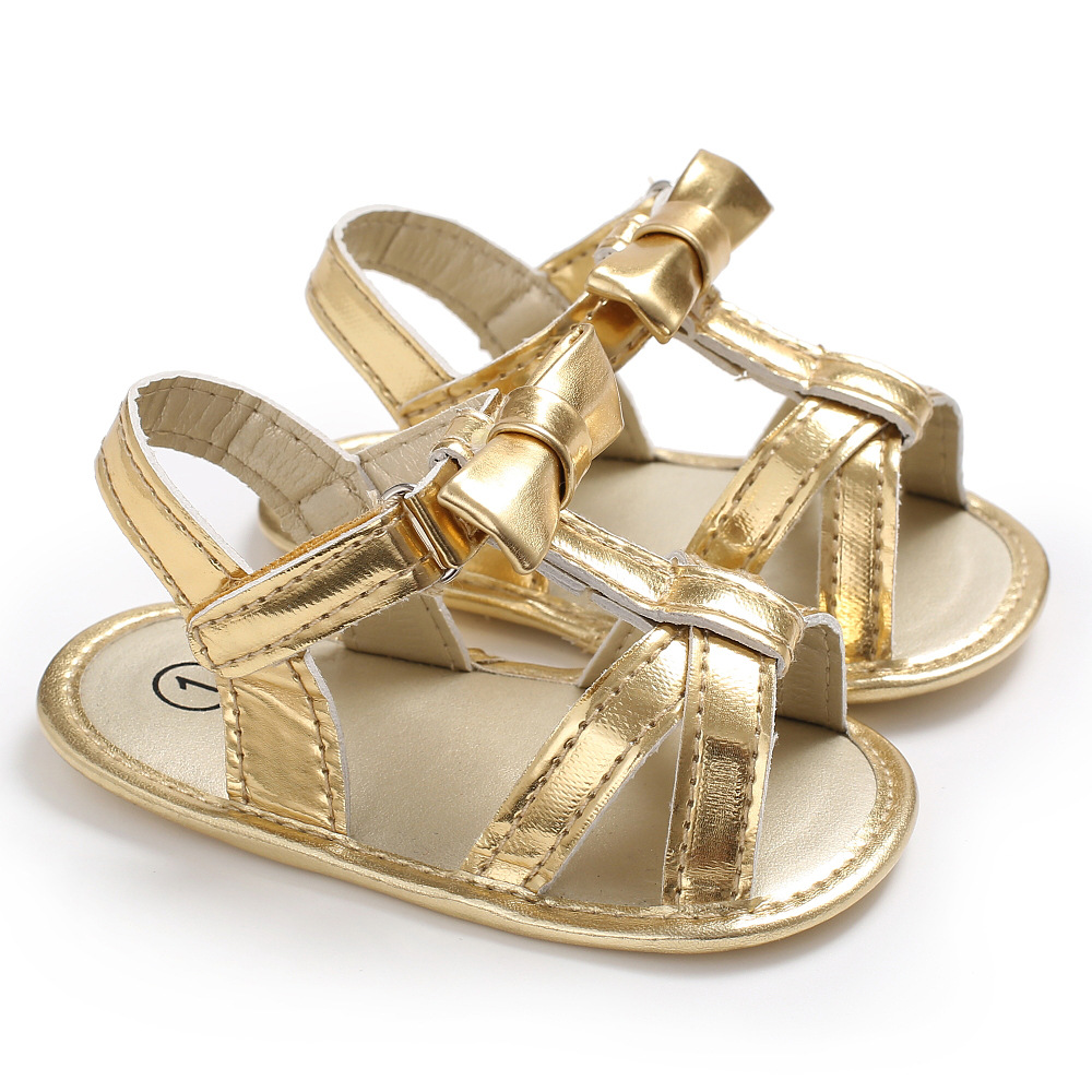 2018 Summer Toddler Girl Bebe Party Baby Shoes Infant Hot Sale bow Birthday Gold PU nonslip Baby Moccasins Shoes