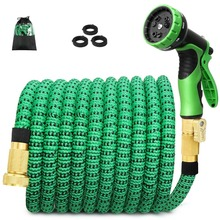 High quality 25FT-75FT garden hose expandable magic rubber soft plastic spray tube nozzle outdoor watering hoses set