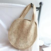 LJL Round Straw Beach Bag Vintage Handmade Woven Shoulder Bag Raffia Circle Rattan Bags Bohemian Summer Vacation Casual Bags