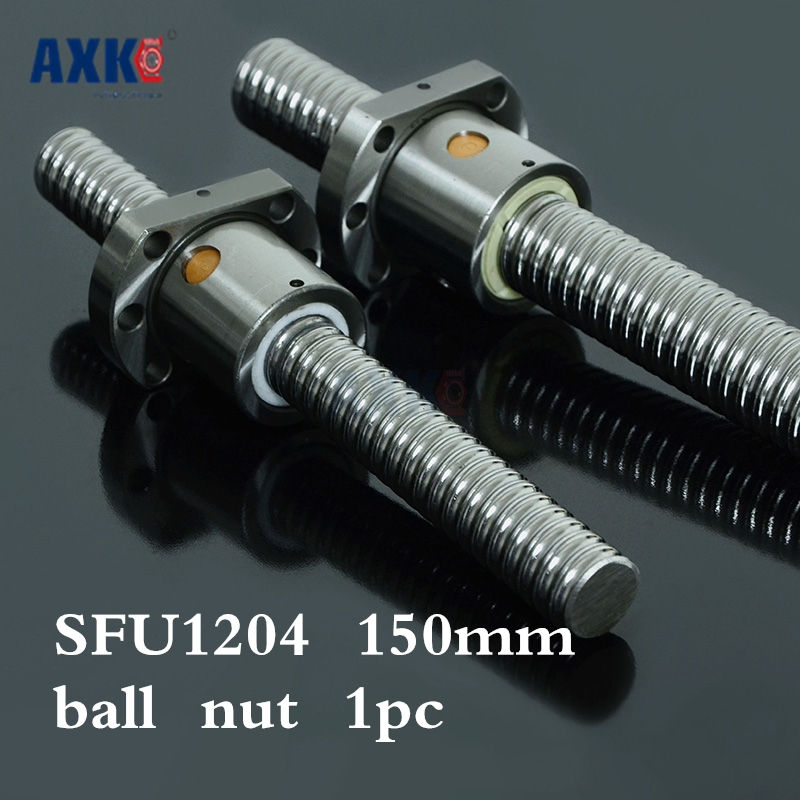 Axk 1204 Ball Screw Sfu1204 150mm Rolled Ballscrew With Single Ballnut For Cnc Parts Rm1204 Woodworking Machinery Parts 2pcs rm1204 ball screw sfu1204 l 1200mm rolled ballscrew with 2pcs single ballnut for cnc parts