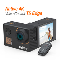 ThiEYE T5 Edge Real 4K Ultra HD Action Camera 60 Meters Waterproof Sports Camera with Voice Control, Remote Control, Stabilizer