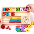 Montessori matemática educacional toy bebê ábaco soroban caixa de madeira de madeira aprendizagem crianças educação brinquedos matemática dígitos W207