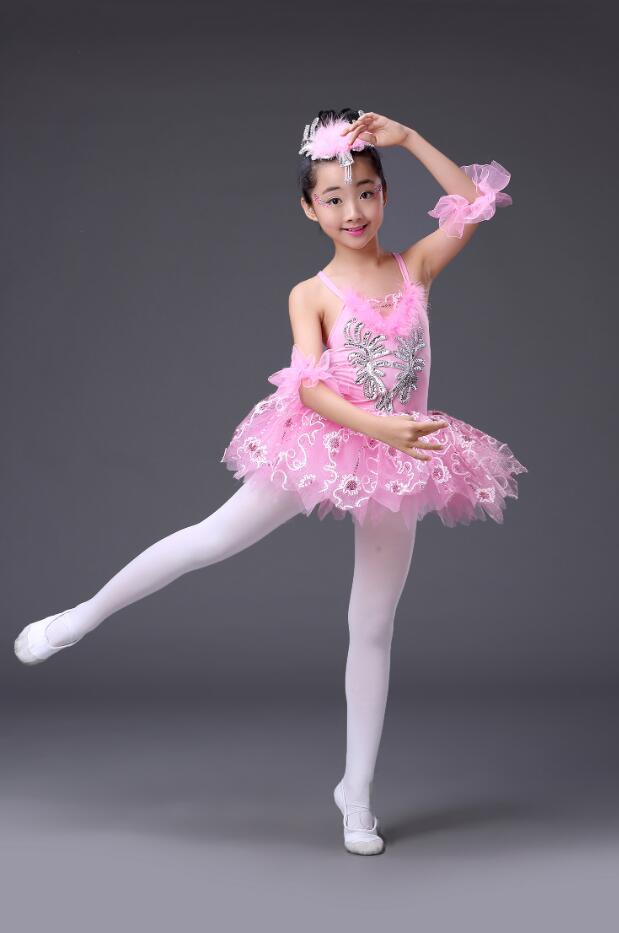 Розовое, голубое детское платье-пачка с блестками и белым лебедем, озеро, бальное платье для танцев, одежда для бальных танцев - Цвет: Розовый
