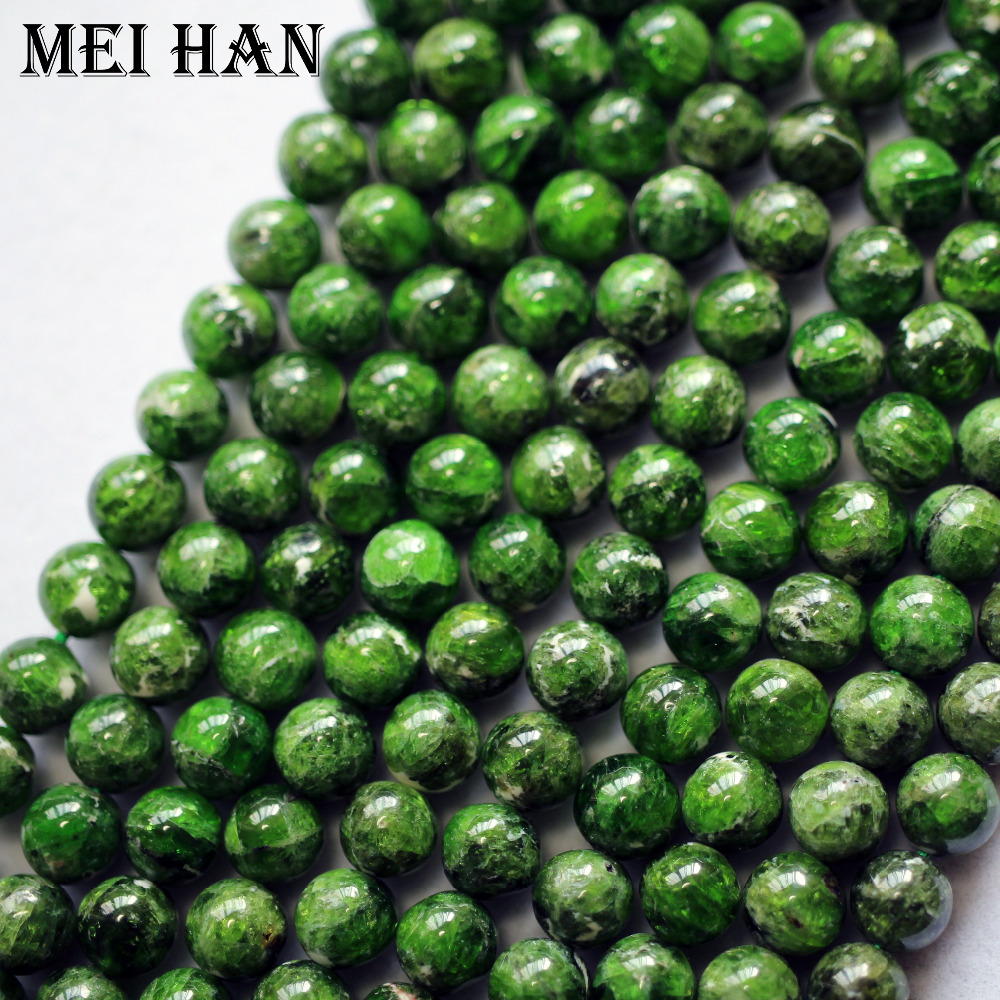 Image 4 - Meihan natural green chrome diopside 7+ 0.2mm smooth round loose stone beads for jewelry making DIY design-in Beads from Jewelry & Accessories