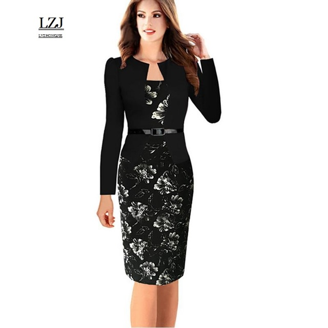 351bb7f05a18d US $23.56 18% OFF LZJ 2017 New summer single piece artificial jackets  vestidos simple and elegant pattern Office work female Retro dress plus  size-in ...