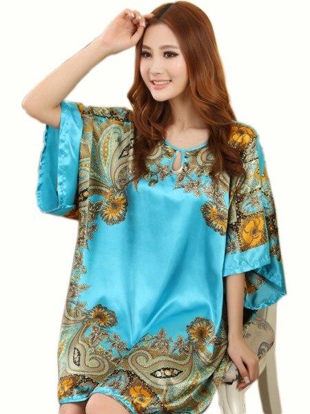 dd675606ed91 Summer Sexy Silk Nightgown Sleepshirts Women Short-sleeves Plus Size  Sleepwear Lounge Casual Satin Silky Nightwear Female Dress