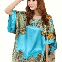 Summer Sexy Silk Nightgown Sleepshirts Women Short sleeves Plus Size Sleepwear Lounge Casual Satin Silky Nightwear