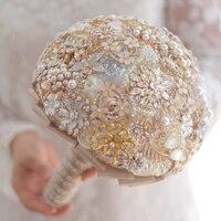 Пользовательские шампанское золото свадебные броши букет, слоновая кость невеста 'ы букет, перл кристалл опал брошь букет золотой декор
