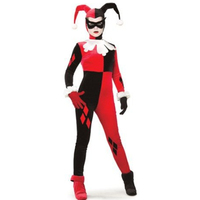 Harley Quinn Cosplay Jumpsuit Costume Black and Red Fitted Harlequin Cosplay Costume Halloween Clown Joker Costume Costumes