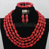 Women's Wedding charm Fashion Christmas Coral Necklace bracelet earring Wedding Party Jewelry Set silver jewelry real silver