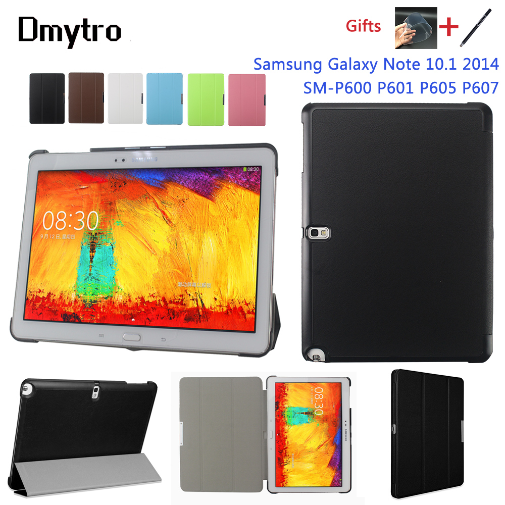Smart Cover For Samsung Galaxy Note 10.1 2014 Edition SM-P600 P601 P605 P607 Tablet Cover Case Auto Sleep/Wake Up Two Free Gifts