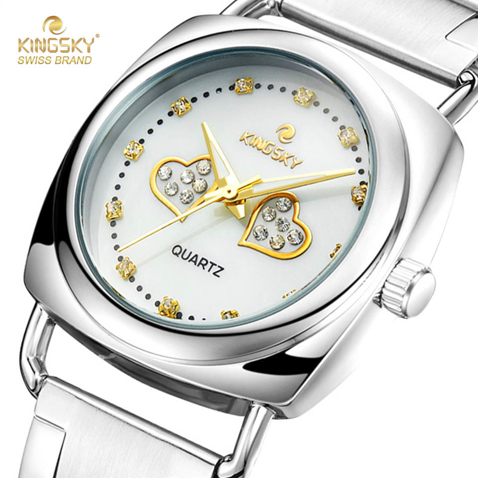 цена на Fashion Women Quartz Watches Famous Brand Kingsky 2 Rhinestone Heart Shape Pattern Case Watch Stainless Steel Band WR011# 2017