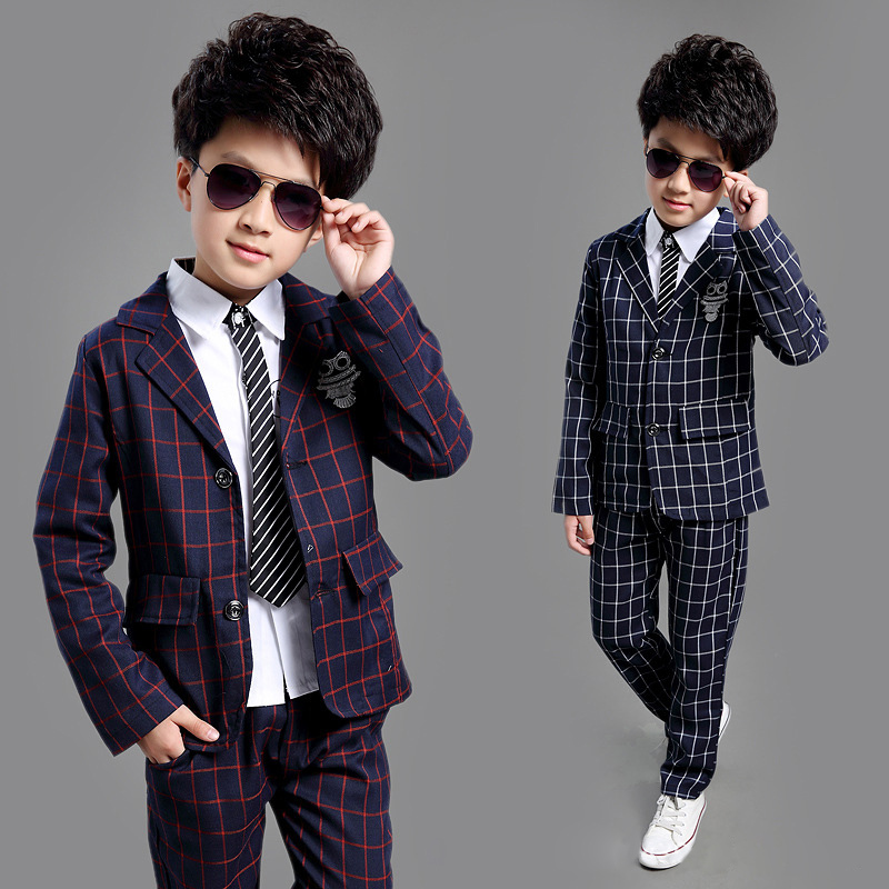 ActhInK New School Kids Plaid Suit England Style Boys Boda formal Blazer Suit Boys Birthday Suit Brand New Year Tuxedos, C008