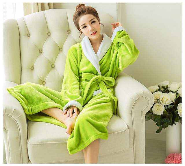 68f4db6245 Autumn Winter Women Thickening Cotton Flannel Pajamas Couples Bathrobe  Coral Warm Sleepwear Lovers Bath Robes