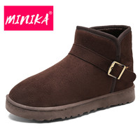 MINIKA 2017 Slip On Women Ankle Boots Solid Colors Snow Boots Women Comfortable Platform Boots Warm