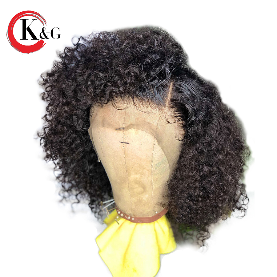 Kun Gang Lace Front Human Hair Wigs Brazilian Remy Hair Curly Wig Bleached Knots Pre Plucked