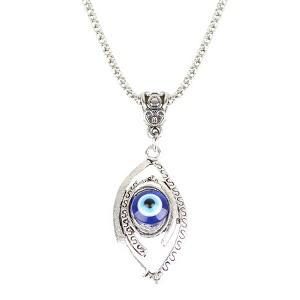 Joyería de moda Collares Para Los Hombres Azul Luna Ojo Turco Mal De Ojo Collar