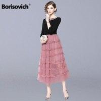 Borisovich Women Casual Long Dress New Brand 2018 Autumn Fashion Sweet Style Mesh Patchwork Elegant Ladies Party Dresses N059