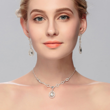Miallo Silver Wedding Jewelry Sets for Bridal Necklace with Earrings Jewelry Sets Zirconia Rhinestone Stylish Gift Decoration