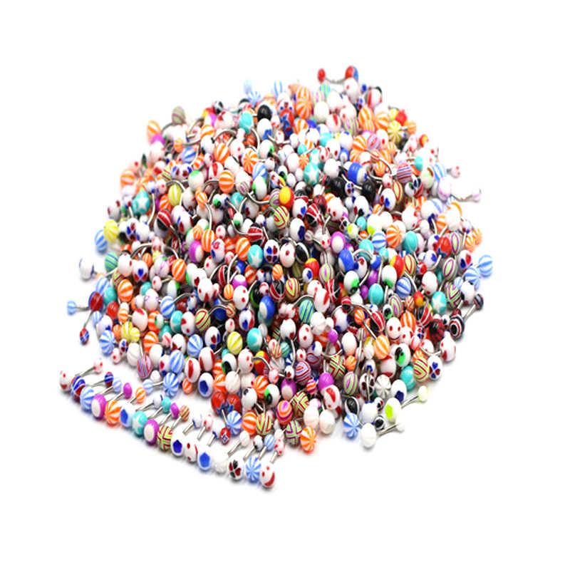 Rốn Xỏ Ngón Sỉ 1 Máy Tính Công Nghiệp Thanh Barbell Ngẫu Nhiên Acrylic Nhiều Màu Sắc Barbell Bóng Bụng Nhẫn Gợi Cảm Trang Sức