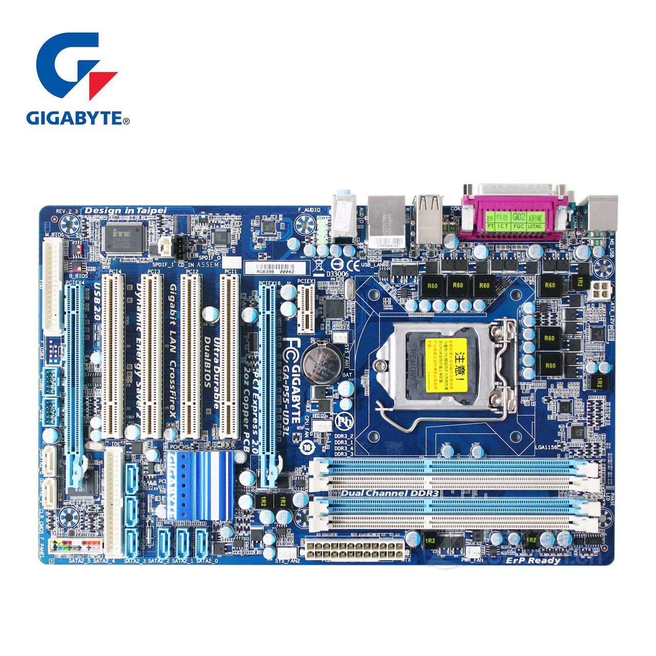 Gigabyte GA-P55-UD3L Original Motherboard LGA 1156 DDR3 Solid State Desktop Mainboard CORE i7 i5 P55 UD3L DDR3 H55 Used Boards gigabyte ga h61m s1 desktop motherboard h61 socket lga 1155 i3 i5 i7 ddr3 16g uatx uefi bios original h61m ds1 used mainboard