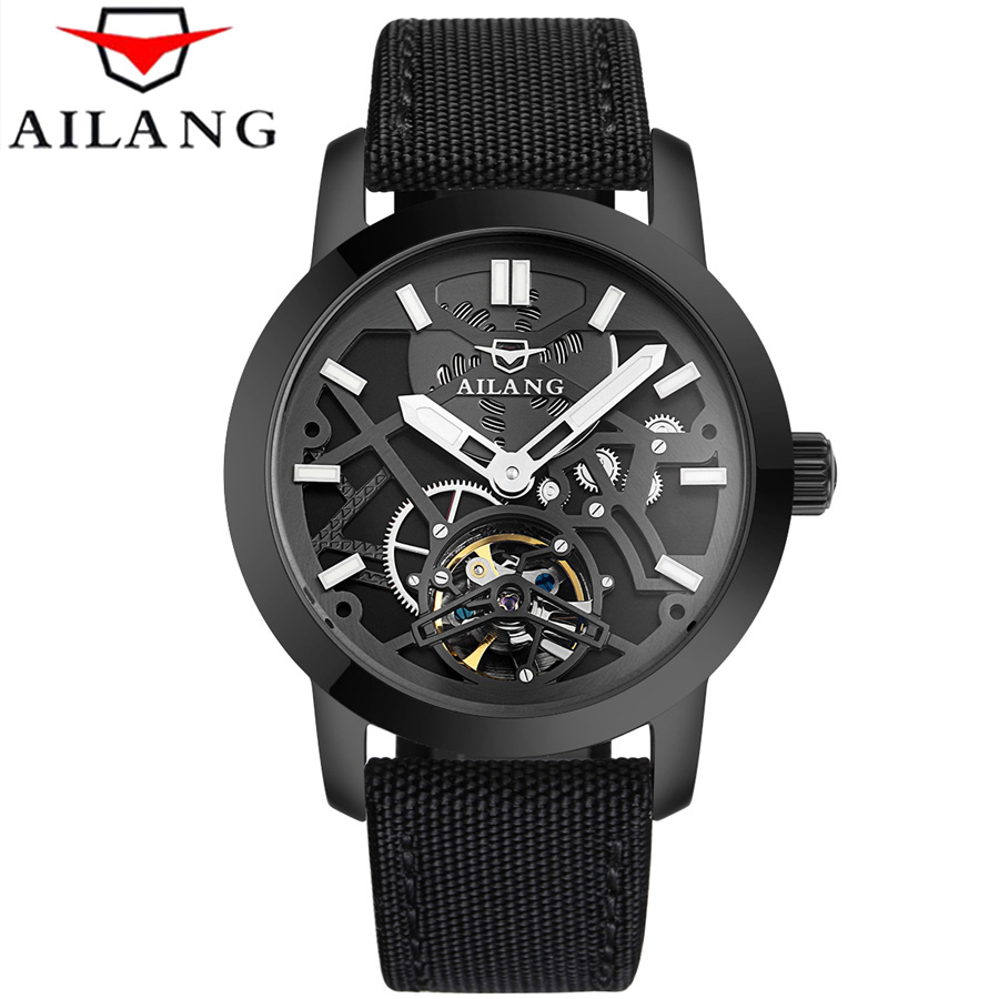 Relogio Masculino 2017 AILANG Men's Luxury Brand Military Mechanical Watches Leather Hollow Skeleton Watch Black Relojes Hombre relogio masculino 2017 forsining men s luxury brand military automatic mechanical watches leather watch relojes hombre