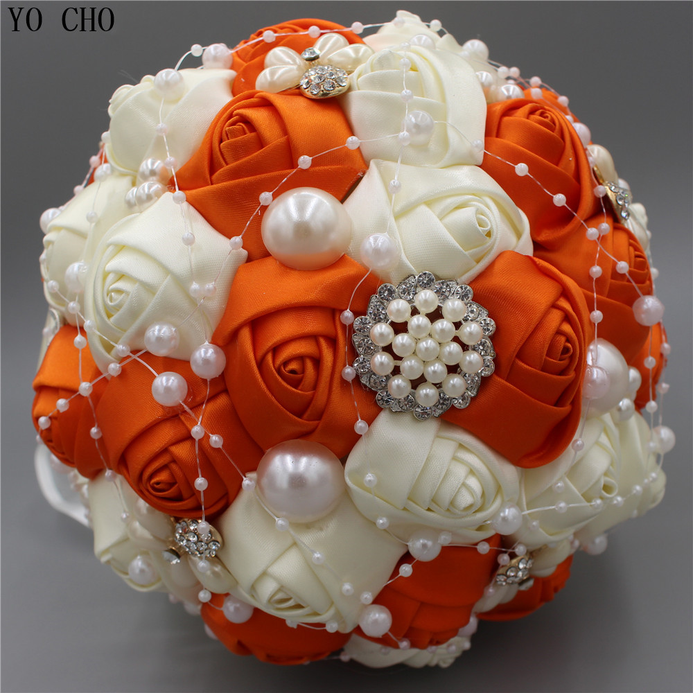 Orange Crystal Bridal Bouquet Jewelry Rhinestone Bead Pearl Rose