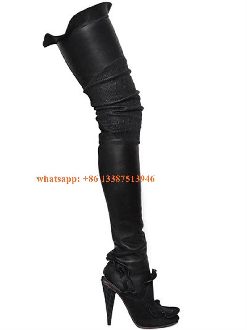 087330b0416d Новые модные женские туфли круглый носок Эластичные текстильные сапоги до  бедра кожаные чулки оборками носок сапоги с бахромой ботинки с высоким  голенищем ...