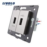 Livolo EU Standard DIY Parts Plastic Materials Function Key Grey Color 2 Gang For USB Socket