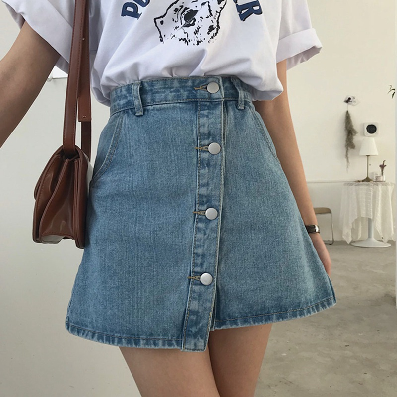 2018 High Waist Summer Jupe Femme With Pockets All-match Female Denim Skirts Irregular Mini Skirts New Single-breasted