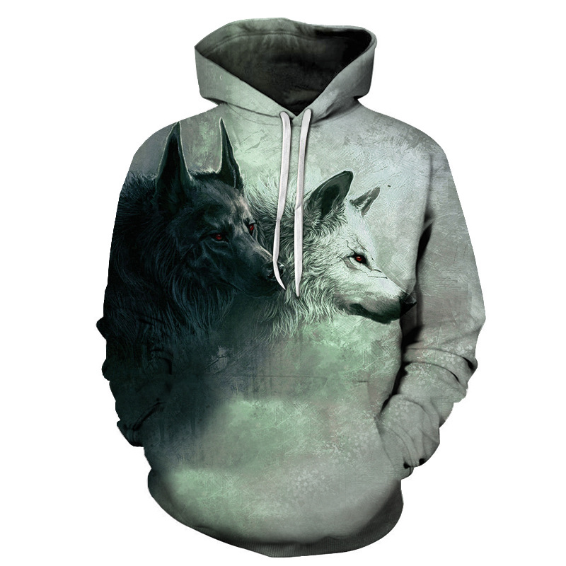 Wolf Printed Hoodies Men 3D Hoodies Brand Sweatshirts Boy Jackets Quality Pullover Fashion Tracksuits Animal Street wear Out Coat 113