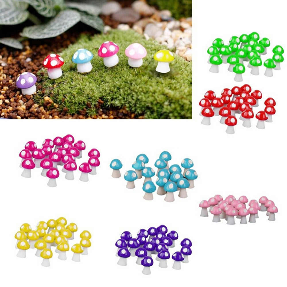 10pcs Mini Mushroom Garden Ornament Resin Crafts Decorations Mushrooms Terrarium Figurines Fairy Garden Miniatures Party Garden
