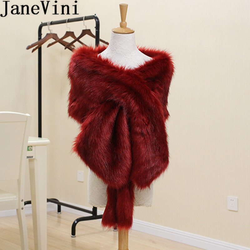JaneVini Winter Burgundy Women Fur Shawl Bridal Wraps Wedding Shoulder Bolero Evening Party Faux Fur Black Capes Bride Stoles