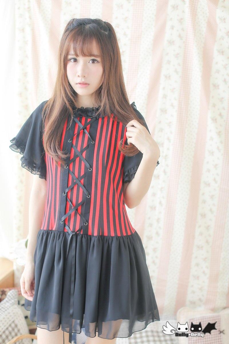 Princesse douce lolita robe manches japon original dessiner chaîne rouge et noir rayures mousseline robe Dolley-0222